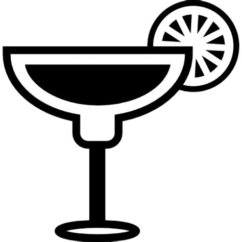 margarita clipart black and white cocktail glass with lemon slice on the border icons free