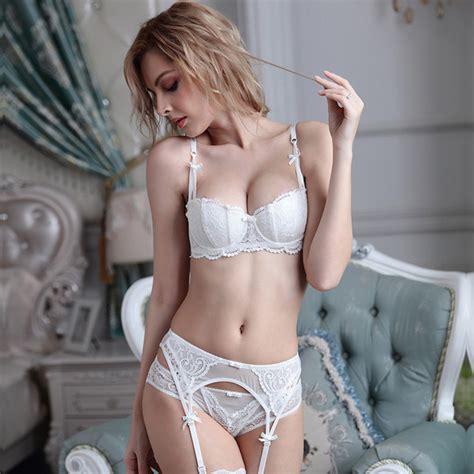 Bh Bra Set Lace Bra Temptation Black 32a plus size bra set intimates embroidery half cup