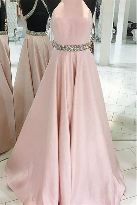 beaded backless prom dress pink backless beaded halter prom evening