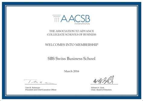 Mba Dba Program by Sbs Acquires Aacsb Membership Sbs Swiss Business School