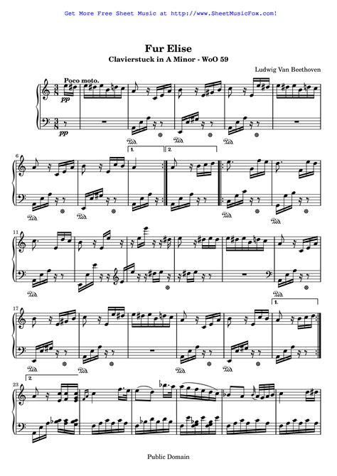 ludwig van beethoven music free sheet music for f 252 r elise woo 59 beethoven ludwig