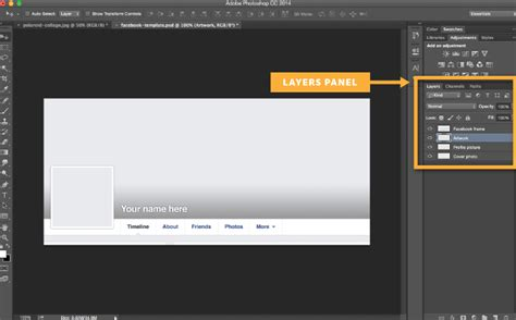 templates for photoshop cc template to create a custom facebook cover photo and