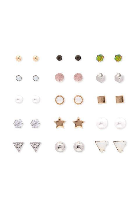 Stud Earring Set lyst forever 21 mixed stud earring set in metallic