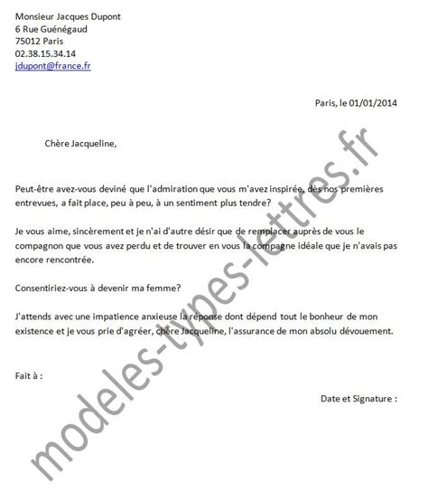 Exemple De Lettre De Remerciement Mariage Modele Lettre Pour Un Mariage Document