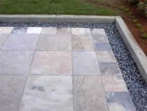 patio tiles ideas slate tile patio with mexican pebble border jpg patio