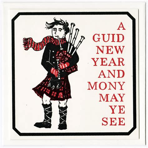 hogmanay greetings card scottish new year bagpipes piper
