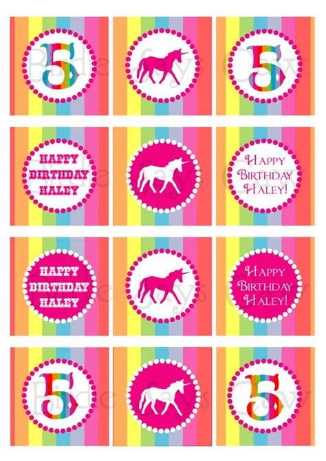 free printable unicorn cupcake toppers printable custom rainbow unicorn party circles cupcake