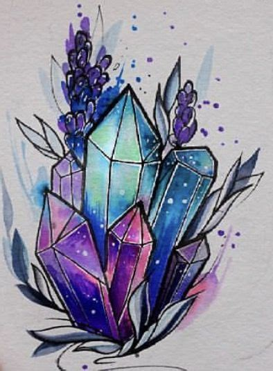 crystal tattoo designs watercolor tattoos