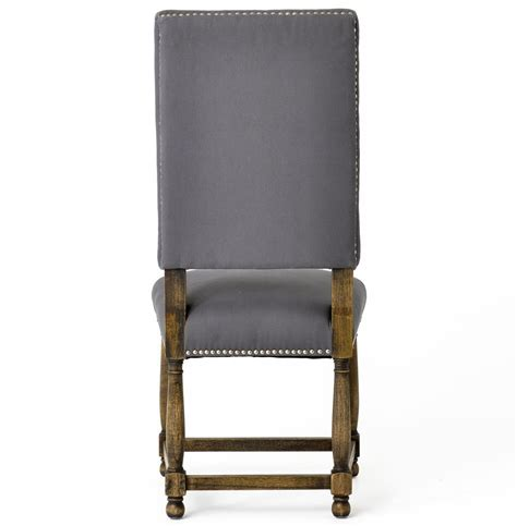 Charles French Country Grey Linen High Back Dining Room Linen Dining Room Chairs