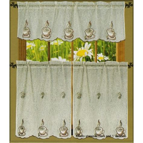 coffee cup kitchen curtains lorena coffee cup embroidered 3 piece sheer kitchen