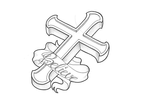 cross tattoo stencil 3d message in ripped skin cross religious on