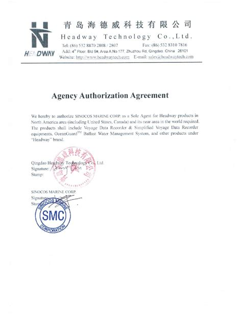 Authorization Letter Usmc Affiliate Corporation Sinocos Marine Corp