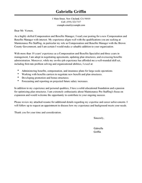 cover letter human services compensation and benefits cover letter exles human
