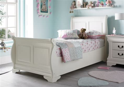 White Single Sleigh Bed Louie Sleigh Bed Polar White Painted Wood Wooden Beds Beds
