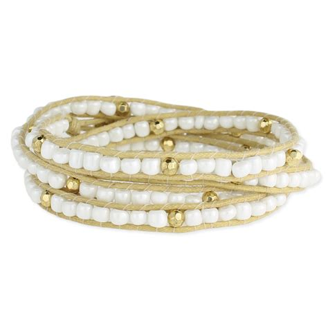 Pearl & Gold Bead Wrap Bracelet