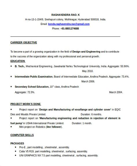 resume format for fresher graduate pdf cv template fresh engineering graduates images