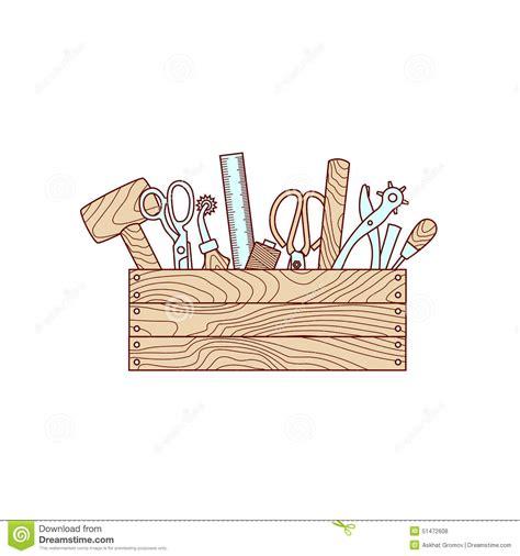 wallpaper craft com craft tools in toolbox vector illustration stock vector