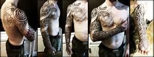 geometric viking tattoo nordic wyrm and geometry sleeve wip by meatshop tattoo on