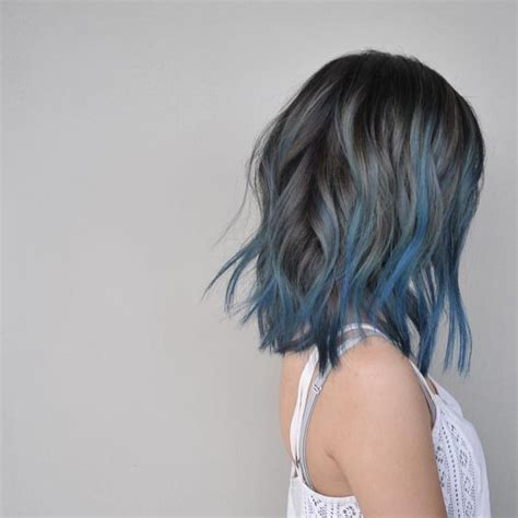 hairstyle with dark color underneath how to experiment with blue hair for dark hair hair