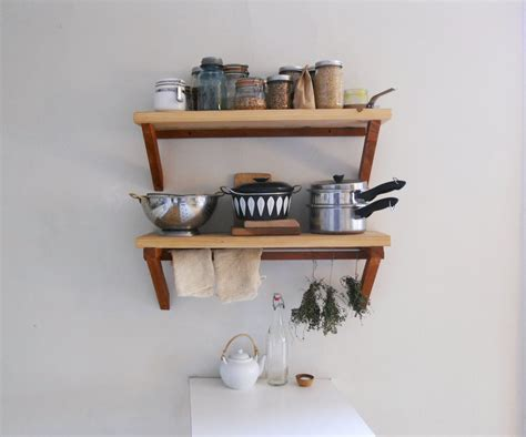 creative diy wood wall mounted kitchen shelving units with