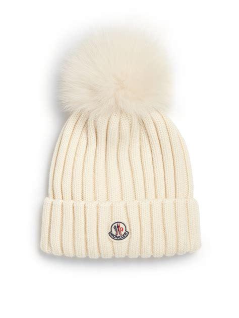 pomeranian fur moncler fur pom pom ribbed wool hat in white ivory lyst