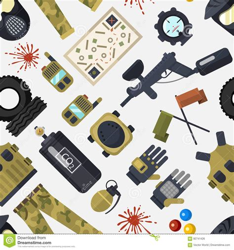 Game Design Equipment | paintball club symbols icons protection uniform and sport