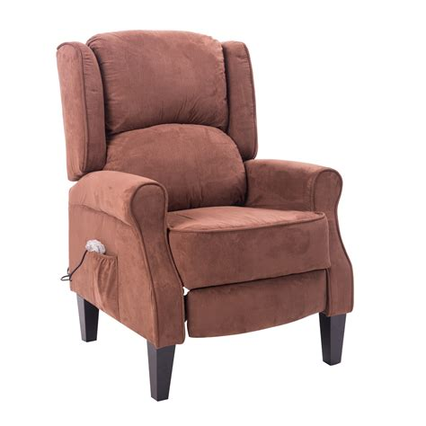 Remote Recliners by Homcom Heated Vibrating Suede Living Room Recliner Chair With Remote Brown Gifts For