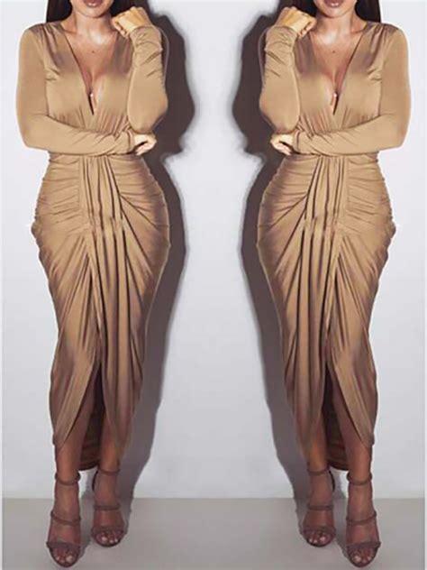 khaki wrap deep  neck long sleeve ruched party maxi dress