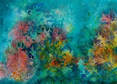 coral reef color water color note card coral reef digital reproduction of
