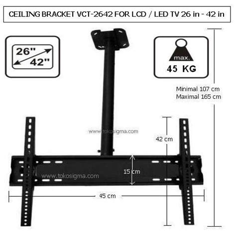ceiling bracket vct 2642 for lcd led tv 26 in 42 in toko sigma