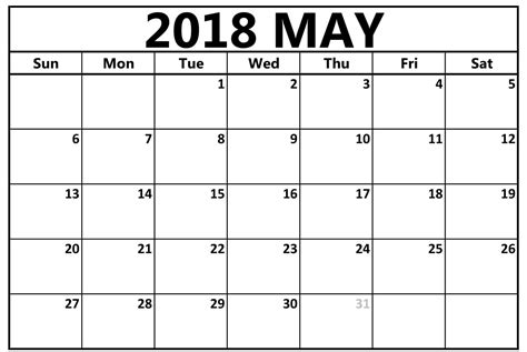 printable calendar 2018 large print print may 2018 calendar
