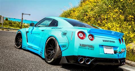 nissan modified nissan gt r modified bright blue concept sport car design