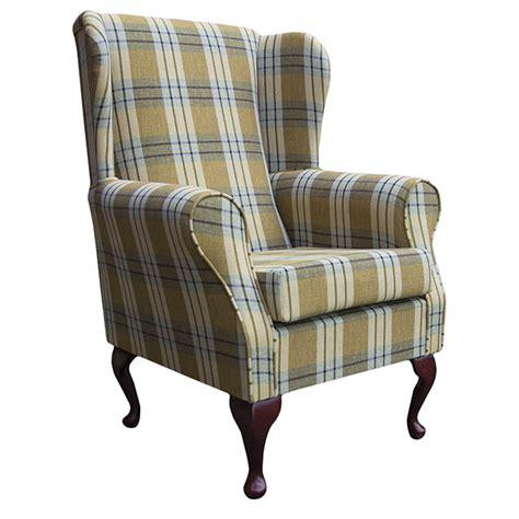 tartan wingback chair pas tartan fabric wing back orthopaedic fireside chair
