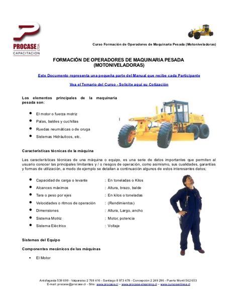Modelo De Curriculum Vitae Para Operador De Maquinaria Pesada Mei 636 Formaci 243 N De Operadores De Maquinaria Pesada Motonveladora