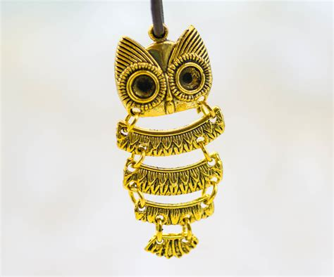 Owl Gold jointed owl pendant 5pcs gold owl alloy metal c225