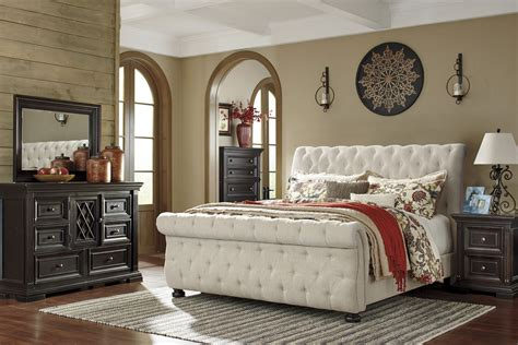 queen upholstered bed willenburg linen queen upholstered sleigh bed from ashley