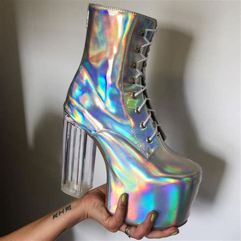 holographic high heels holographic space boots pastel unicorns holographic