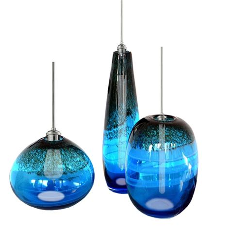 Recessed Led Lights Modern Blown Blue Glass Shade Pendant Lighting 11858