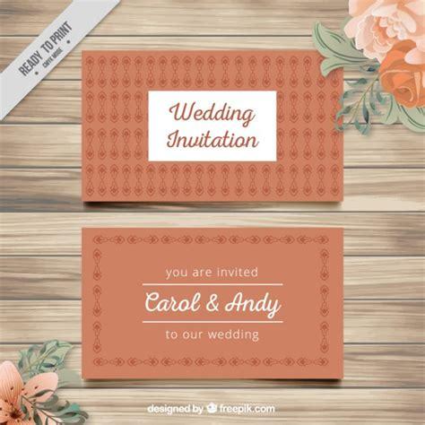 Kostenlose Vorlage Einladung Hochzeit Niedliche Vintage Hochzeit Einladung Der Kostenlosen Vektor