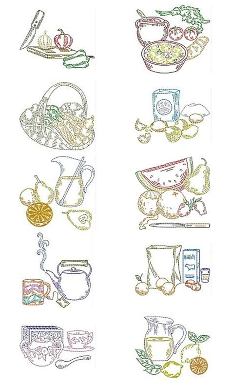 kitchen embroidery designs free embroidery machine designs kitchen multicolor set