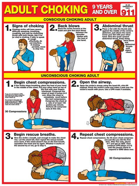 printable cpr poster adult choking first aid instructional wall chart poster
