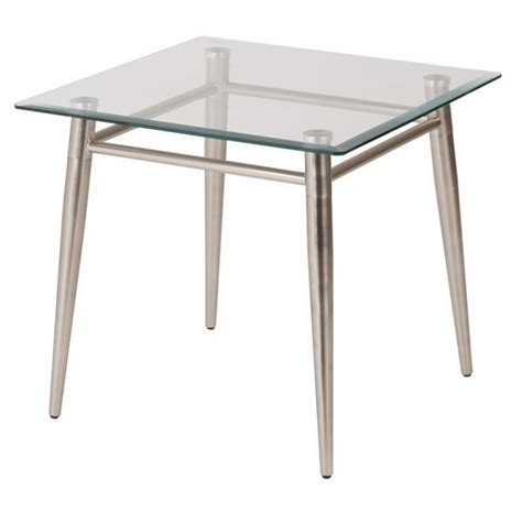 Tempered Glass Table tempered glass square top end table in silver mg0922s nb