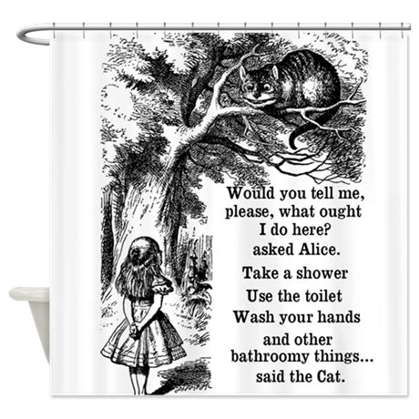 alice in wonderland shower curtain alice in wonderland cat shower curtain by inspirationzstore