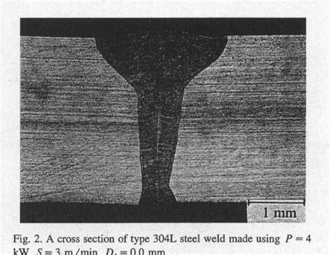 cross section steel laser beam welding of austenitic stainless steels