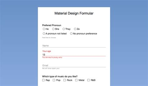material design form html form fields with material design in pure css