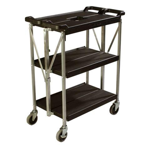 Small Storage Cart On Wheels Carlisle 350 Lb Black Small Fold N Go Heavy Duty 3 Tier
