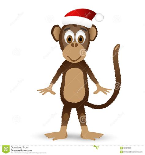 monkey santa monkey with santa hat isolated on white background stock