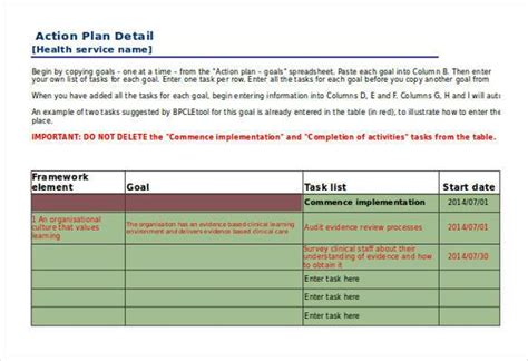 action plan template 110 free word excel pdf