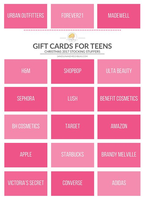 Gift Cards For Teen Girls - the best gift cards for teen girls 2017 sand sun messy buns