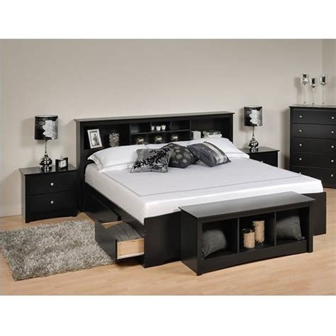 prepac sonoma black king bookcase platform bed  pc bedroom set